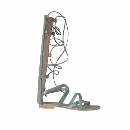 Chaussure spartiates ouvert pour femmes avec fermeture éclair et lacets en cuir vert talon 11 - Pointures disponibles:  34, 43, 47