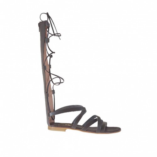 Woman's gladiator open shoe with zipper and laces in dark brown leather heel 1 - Available sizes:  33, 34, 44, 47