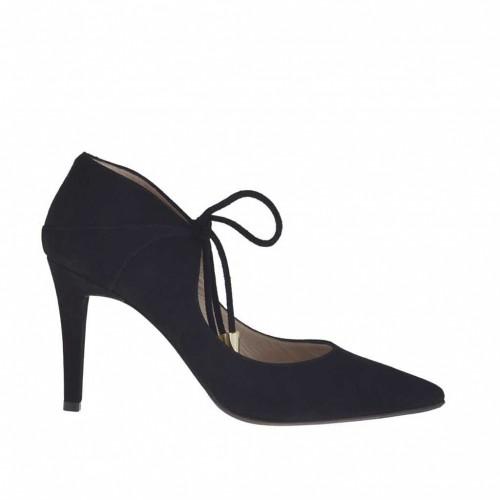 Escarpin pour femmes avec lacets en daim noir talon 8 - Pointures disponibles:  43, 47