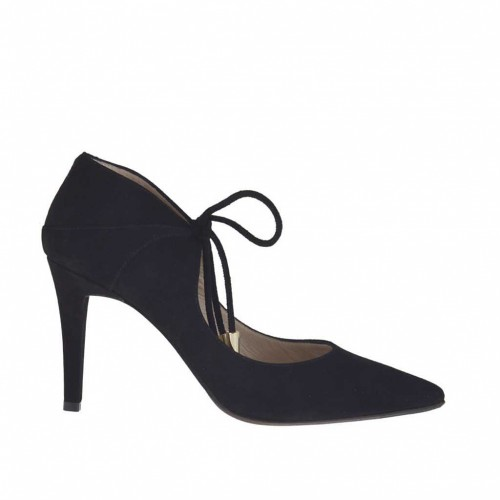 Woman's pump shoe with laces in black suede heel 8 - Available sizes:  47