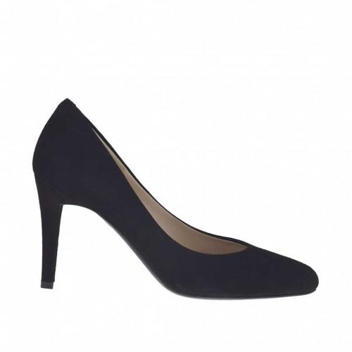 Escarpin pour femmes en daim noir talon 8 - Pointures disponibles:  31, 33, 34, 44, 46, 47
