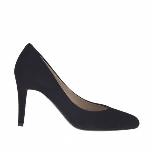 Women's pump shoe in black suede heel 8 - Available sizes:  31, 47