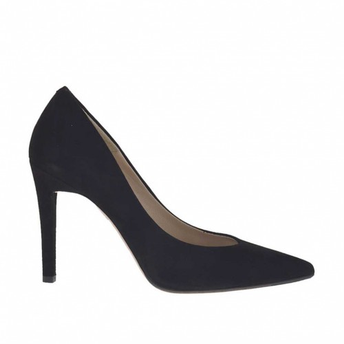 Escarpin à bout pointu pour femmes en daim noir talon 9 - Pointures disponibles:  31, 46, 47