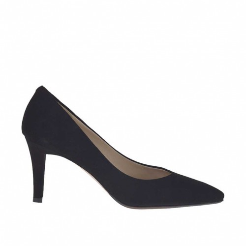 Woman's pump in black suede heel 7 - Available sizes:  33, 34, 44, 45, 46