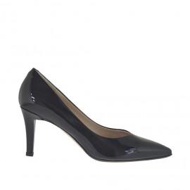 Decolté da donna in vernice laccata nera metallizzata tacco 7 - Misure disponibili: 43, 44, 46