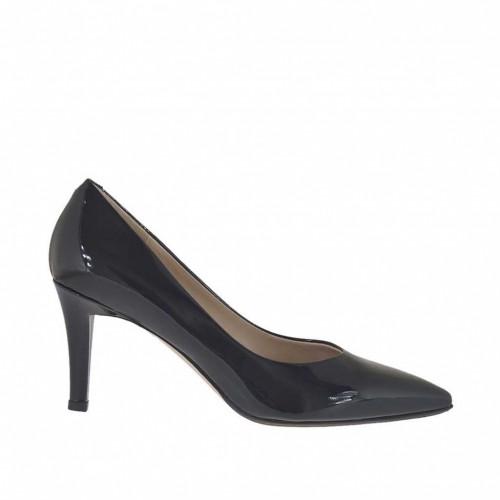 Escarpin de femmes en cuir verni laqué noir metallizé talon 7 - Pointures disponibles:  44, 46