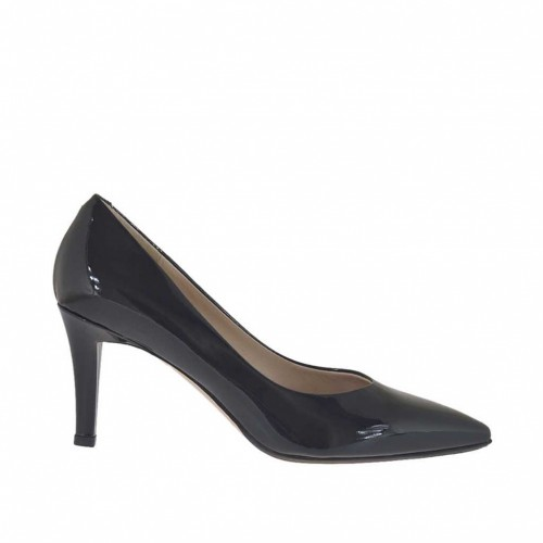 Woman's pump in metallized black lacquered patent leather heel 7 - Available sizes:  34, 43, 44, 45, 46