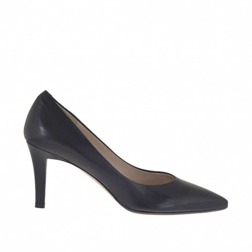 Woman's pointy pump in black leather heel 7 - Available sizes:  34