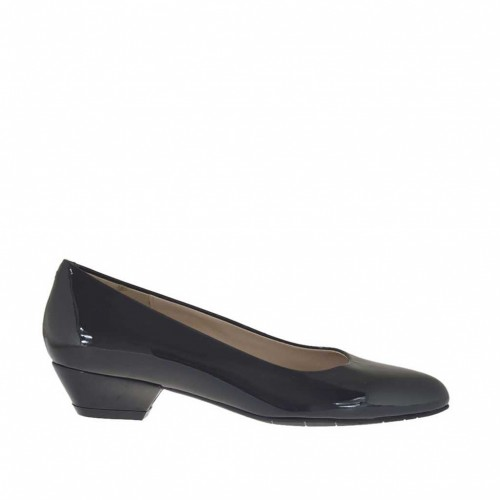 Woman's pump in metallized black lacquered patent leather heel 3 - Available sizes:  33, 43