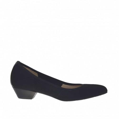 Escarpin pour femmes en tissu et cuir noir talon 3 - Pointures disponibles:  33, 34