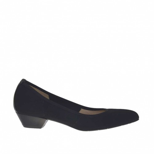 Woman's pump in black fabric and leather heel 3 - Available sizes:  33, 34