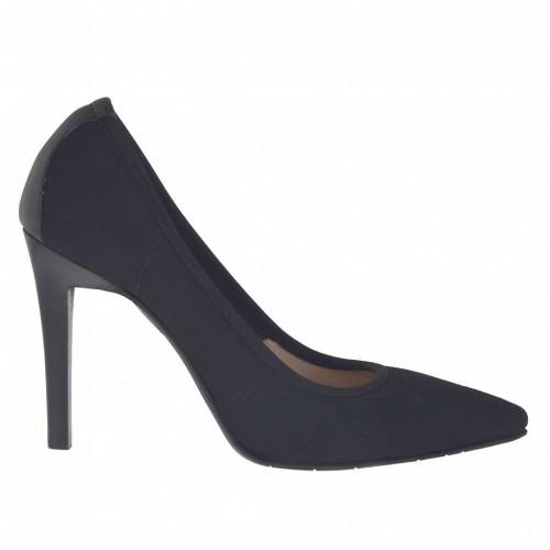 Escarpin pour femmes en tissu élastique et cuir noir talon 9 - Pointures disponibles:  43, 45, 46