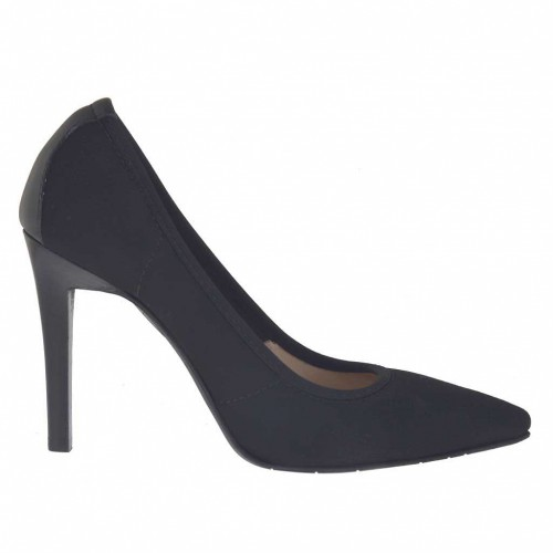 Woman's pump in black elastic fabric and leather heel 9 - Available sizes:  43, 45, 46