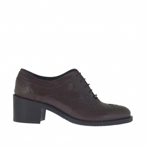 Woman's laced Oxford shoe in dark brown leather heel 5 - Available sizes:  42