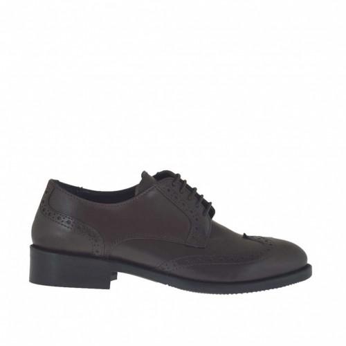 Chaussure derby à lacets pour femmes en cuir marron foncé talon 3 - Pointures disponibles:  34, 43, 44, 45