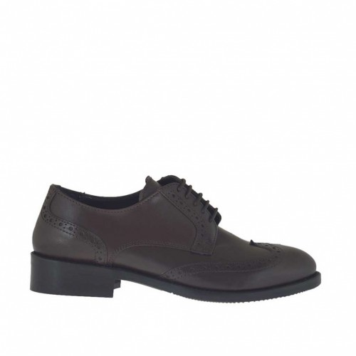 Woman's laced Derby shoe in dark brown leather heel 3 - Available sizes:  45