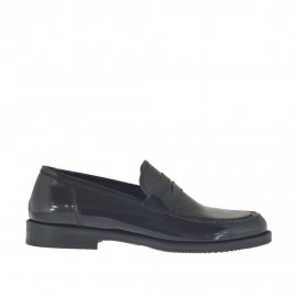 Woman's mocassin in black brush-off leather heel 2 - Available sizes:  32