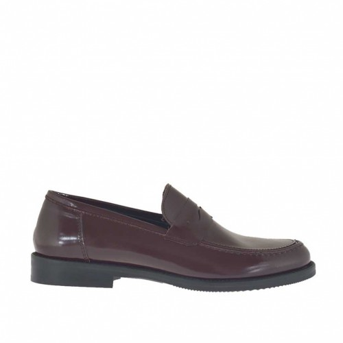 Woman's mocassin in maroon brush-off leather heel 2 - Available sizes:  32, 33, 42, 45