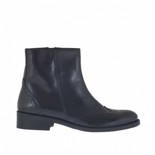 Woman's Oxford style ankle boot with inner zipper in black leather heel 3 - Available sizes:  32, 47