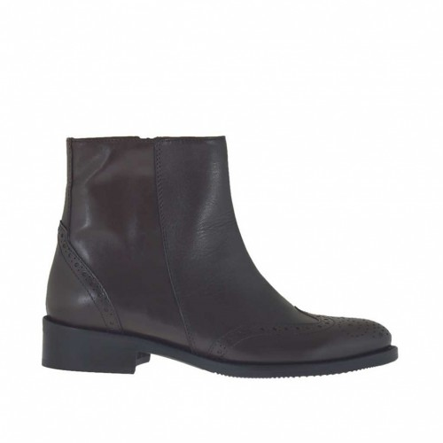 Woman's Oxford style ankle boot with inner zipper in dark brown leather heel 3 - Available sizes:  47