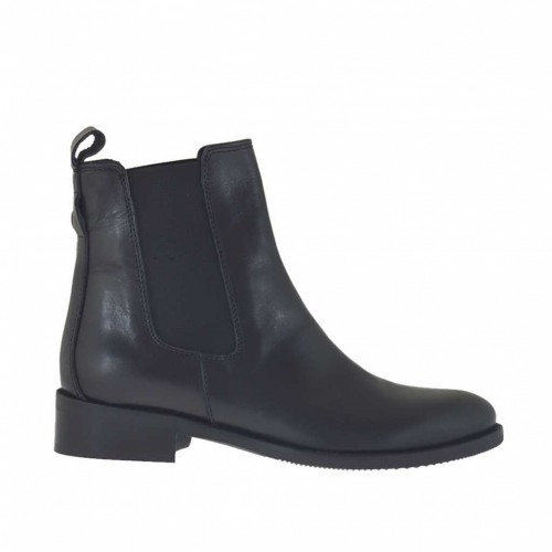 Woman's ankle boot with elastic bands in black leather heel 3 - Available sizes:  47