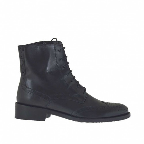 Woman's laced ankle boot Oxford style with zipper in black leather heel 3 - Available sizes:  33, 46