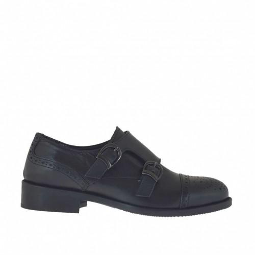 Chaussure avec boucles pour femmes en cuir noir talon 3 - Pointures disponibles:  46