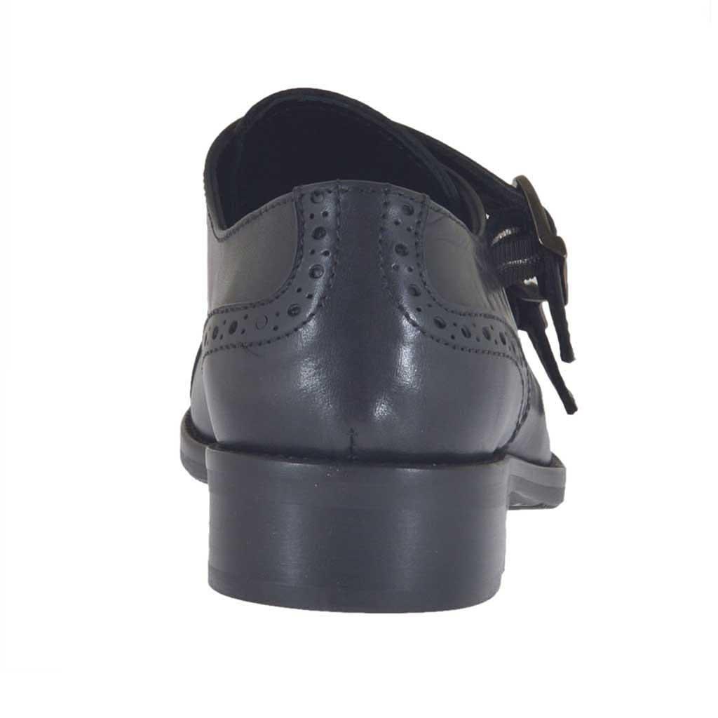 chaussure avec boucles pour femmes en cuir noir talon 3 ghigocalzature. Black Bedroom Furniture Sets. Home Design Ideas