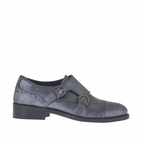 Woman's shoe with buckles in lead-colored laminated leather heel 3 - Available sizes:  34, 45, 46