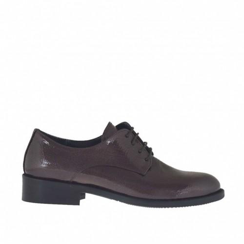 Chaussure Derby à lacets pour femmes en cuir vernis martelé bordeaux talon 3 - Pointures disponibles:  32, 34, 46