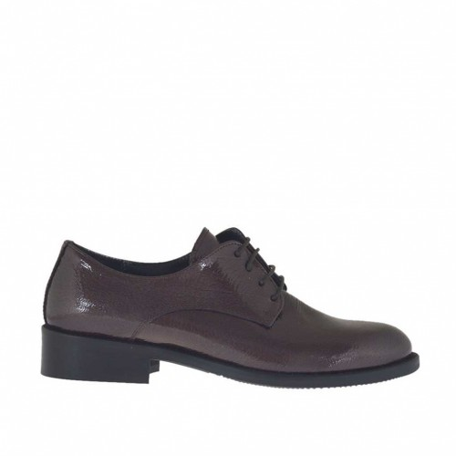 Woman's laced Derby shoe in maroon hammered patent leather heel 3 - Available sizes:  32, 33, 34, 42, 43, 45, 46