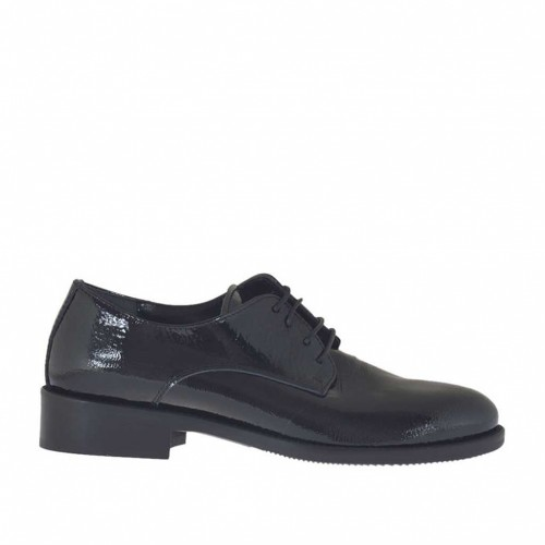 Woman's laced Derby shoe in black hammered patent leather heel 3 - Available sizes:  33, 34, 45, 46