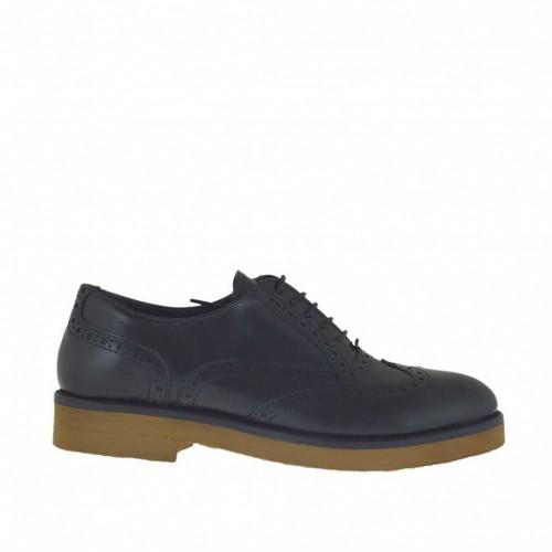 Chaussure richelieu à lacets pour femmes en cuir noir avec talon 3 - Pointures disponibles:  44