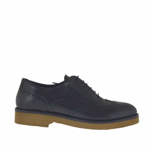 Woman's laced Oxford shoe in black leather heel 3 - Available sizes:  33, 44, 45, 46