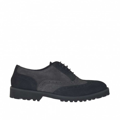 Woman's laced Oxford shoe in black and grey suede heel 3 - Available sizes:  32, 44, 46