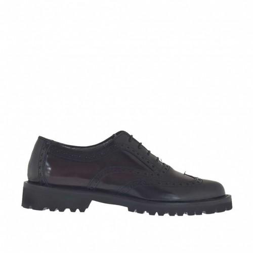 Chaussure richelieu pour femmes à lacets en cuir brossé bordeaux et noir talon 3 - Pointures disponibles:  42, 44, 45
