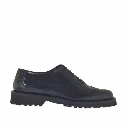 Chaussure richelieu pour femmes à lacets en cuir brossé bleu et noir talon 3 - Pointures disponibles:  43, 44, 45