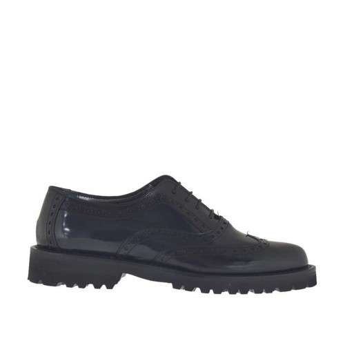 Woman's laced Oxford shoe in blue and black brush-off leather heel 3 - Available sizes:  43, 44, 45