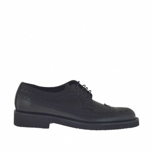 Men's elegant laced derby shoe in black leather - Available sizes:  48, 50