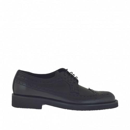 Scarpa elegante stringata da uomo modello derby in pelle nera - Misure disponibili: 48, 50