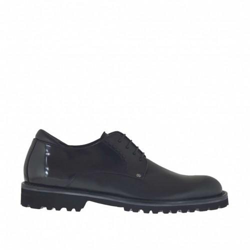 Eleganter Derbyschuh mit Schnürsenkeln für Herren aus schwarzem Leder und gebürstetem Leder - Verfügbare Größen:  47, 48