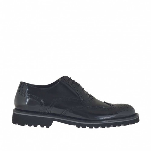 Men's elegant laced oxford shoe in black brush-off leather - Available sizes:  46, 50