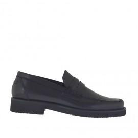 Mocassin pour hommes en cuir noir - Pointures disponibles:  38, 47, 48