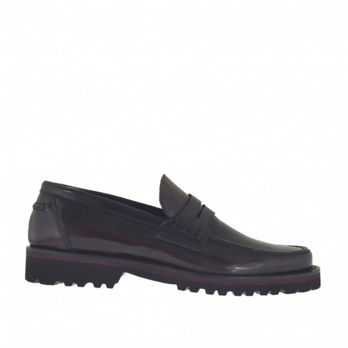 Man's mocassin in maroon brush-off leather - Available sizes:  46, 47, 50