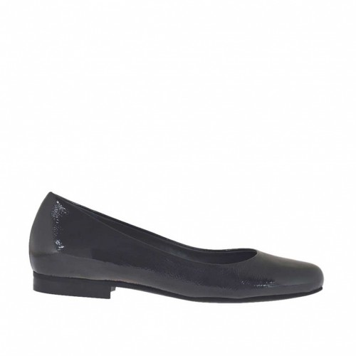Woman's ballerina shoe in dark grey patent leather heel 1 - Available sizes:  34