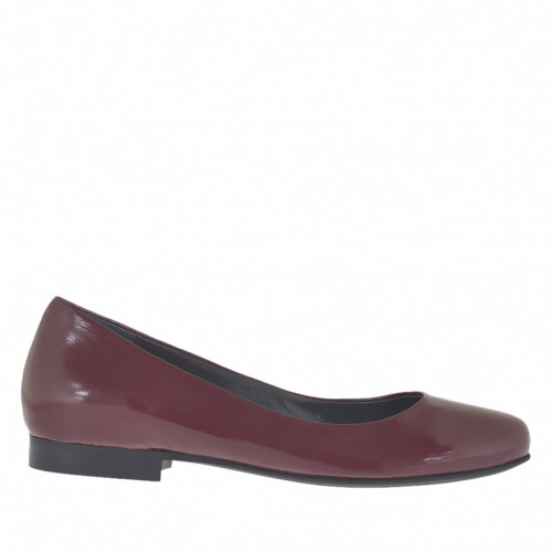 Woman's ballerina shoe in maroon leather heel 1 - Available sizes:  33, 34, 43, 45