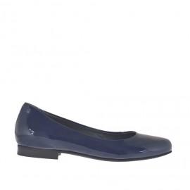 Ballerina da donna in vernice blu tacco 1 - Misure disponibili: 33, 34