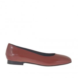 Woman's ballerina in brick red leather with squared tip heel 1 - Available sizes:  33