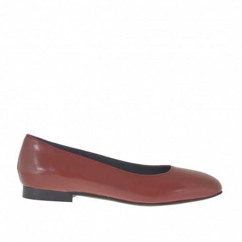 Ballerine pour femmes en cuir rouge brique avec bout carré talon 1 - Pointures disponibles:  33, 44, 45