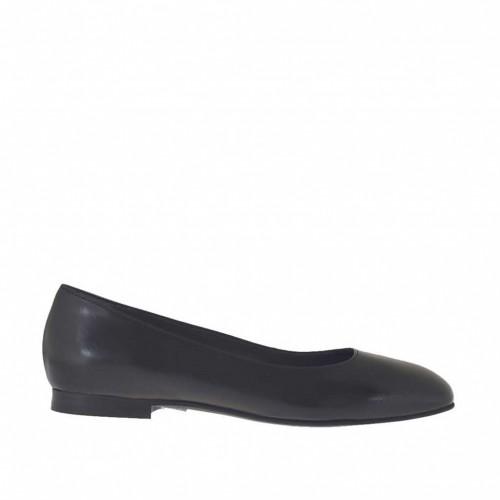 Ballerine pour femmes en cuir noir avec bout carré talon 1 - Pointures disponibles:  33, 34